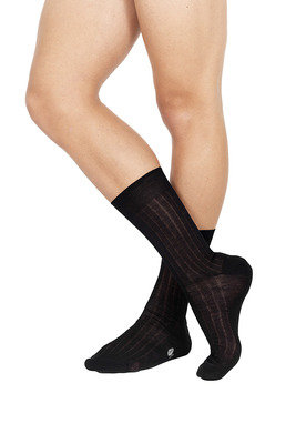 Ribbed Short Lisle Socks Black