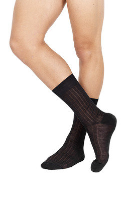 Ribbed Short Lisle Socks Anthracite grey