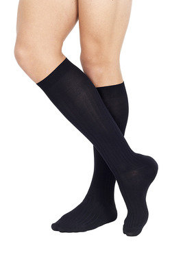 Ribbed Microfibre  Long Socks Black
