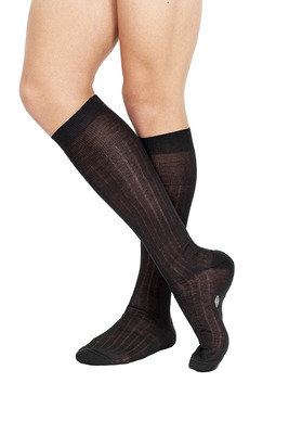 Ribbed Long Lisle Socks Anthracite grey