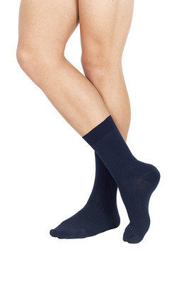 Ribbed Microfibre  Short Socks Blue