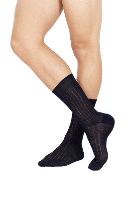 Ribbed Short Lisle Socks Navy