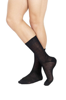 Flat Knit Short Lisle Socks Black