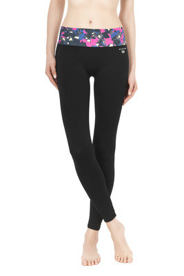Leggings Zoom black with multicolor animalier pattern waistband