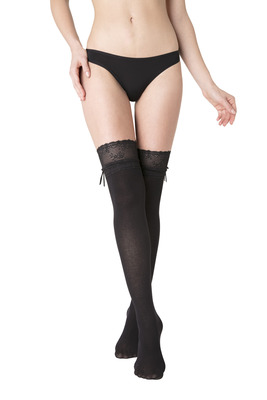 Cotton overknee socks Black