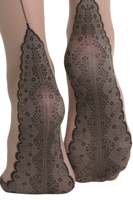 Tights skin color with embroidered toe