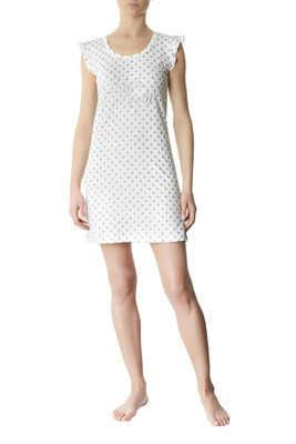 Nightdress cotton Terracina white and grey polka dots pattern