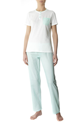 Pyjamas cotton Lignano white and light blue stripes pattern