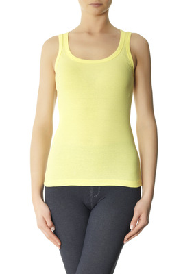 Wide straps ribbed vest cotton Flick yellow