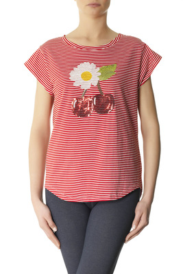 T-Shirt cotton Lampedusa white and red stripes pattern with embellishment