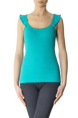 Wide straps ribbed vest cotton Flock green with trim
