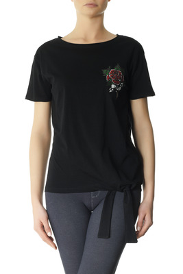 T-Shirt cotton Egadi black with embroidery