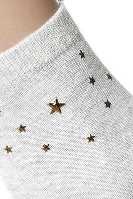 Socks Fabiola melange grey with studs