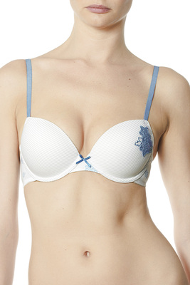 Push up bra cotton Cioccola white and light blue stripes and floral pattern with embroidery