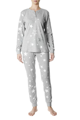 Pyjamas cotton interlock Gavia grey and white