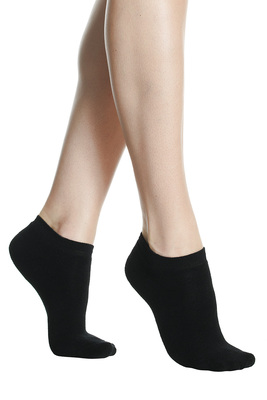 Women mini socks soft terry cotton black