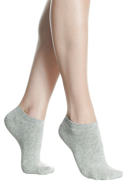 Women mini socks soft terry cotton grey