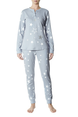 Pyjamas cotton interlock Gavia light blue and white