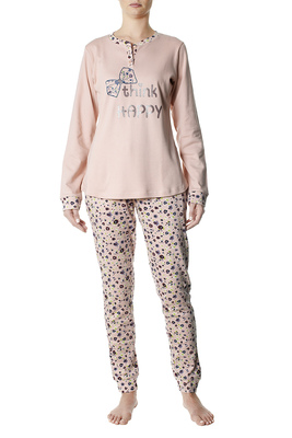 Pyjamas cotton interlock Prado pink floral pattern