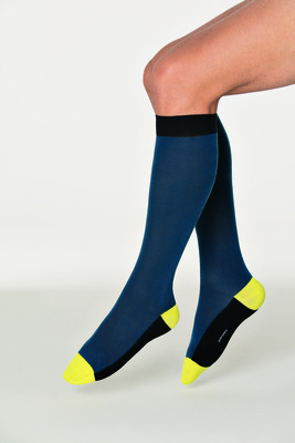 Long socks cotton Trento blue-green contrast color block
