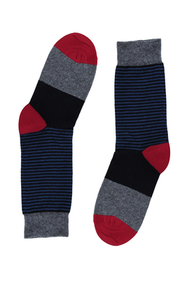 Short socks cotton Napoli black stripes pattern