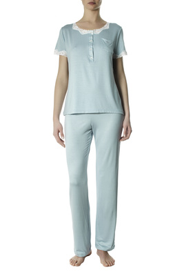 Long viscose pyjamas Nicole light blue with lace