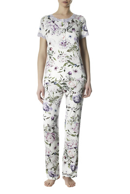 Long viscose pyjamas Penelope floral pattern with lace