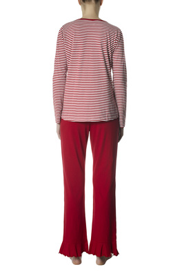 Long cotton pyjamas Marina red stripes pattern with embroidery
