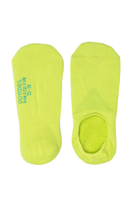 UNISEX yellow cotton shoe liner Run For Fun with anti-slip