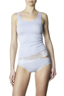 Padded wide straps tank top microfibre and lace Eligere light blue
