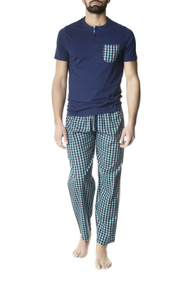 Long cotton pyjamas Erbio blue madras pattern