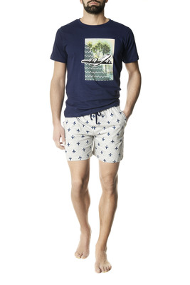 Short cotton pyjamas Viaggio blue airplanes pattern
