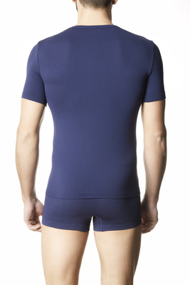 Men's round neck microfibre blue T-shirt