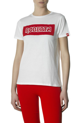 T-Shirt cotton Roberta white with print