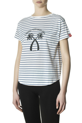 T-Shirt cotton Mirta white stripes pattern with print