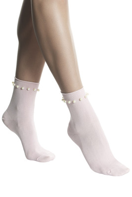 Socks cotton Perlita pink with pearls
