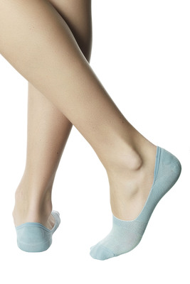 Shoe liner cotton Felice light blue with lamè and anti-slip