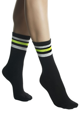 UNISEX black stripes pattern terry socks Jole