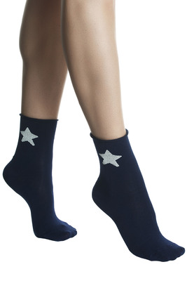 Socks cotton Favilla blue with embellishment