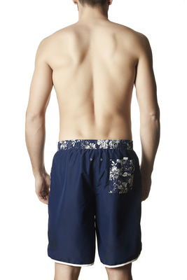 Men's Damien blue and white floral pattern long swimming shorts