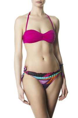 Women's fuchsia pre-shaped bandeau top and pattern bow briefs bottom bikini Giacinto