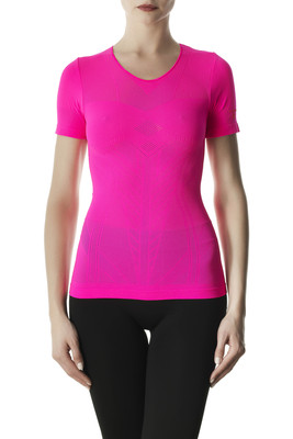 Women's neon yellow openwork microfibre top Performance Active Up