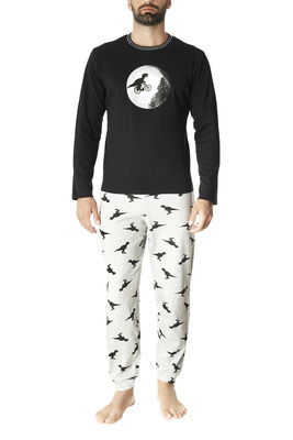 Black and melange grey dinosaurs pattern cotton interlock long sleeves pyjamas Victor
