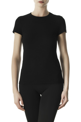 Black round-neck short sleeves cotton T-shirt