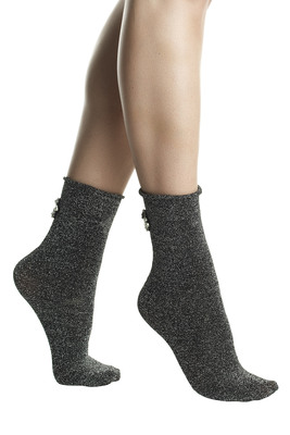 Black fashion socks Diamante in lamé and rhinestones embellishment