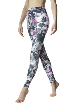 Leggings Active Up nero e rosa fluo fantasia splash