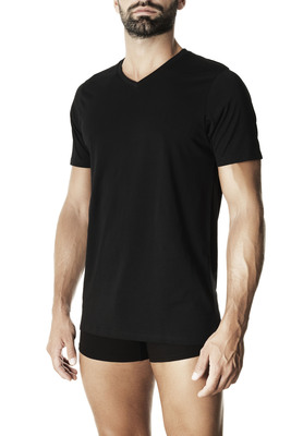 Men's black V neck short sleeves cotton T-shirt