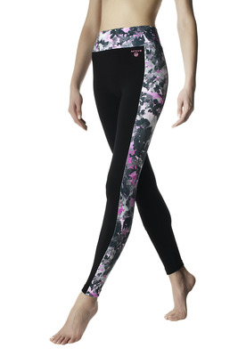 Neon pink and black splash pattern side band leggings Active Up