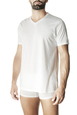 Men's white V neck short sleeves cotton T-shirt