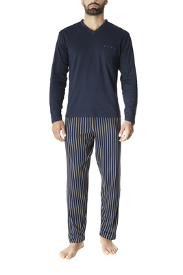 Blue and white stripes pattern cotton interlock long sleeves pyjamas Martin